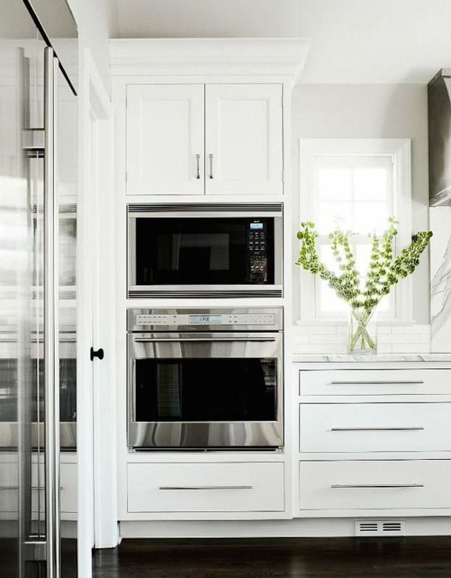 An in-built microwave oven in kitchen